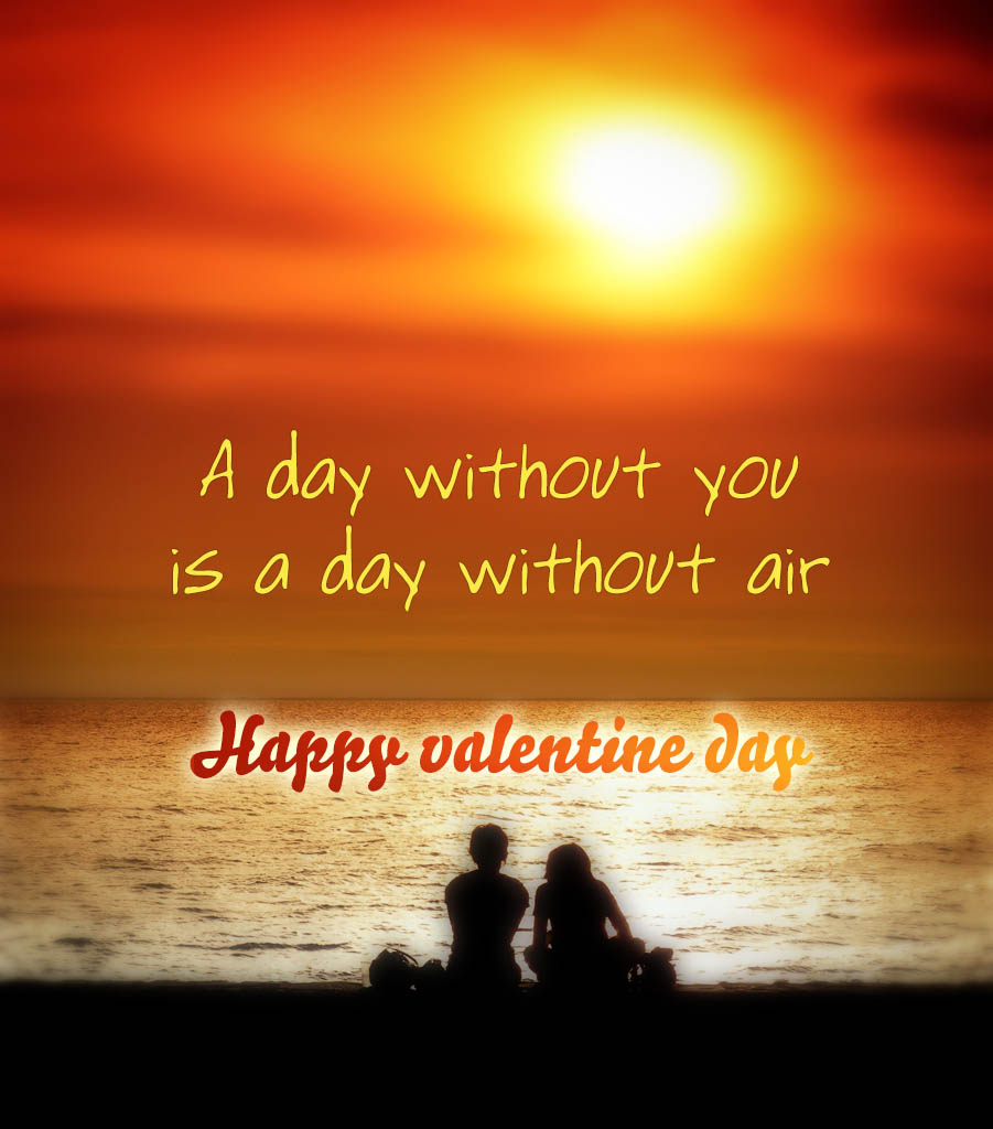 A day without you is a day without air, happy valentine day