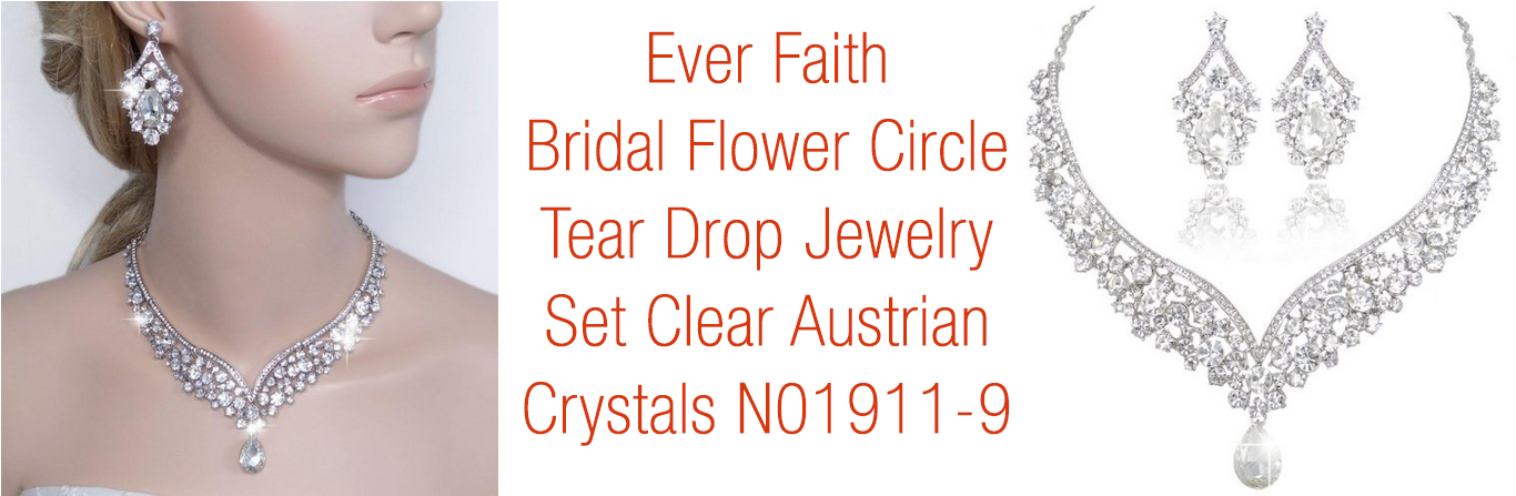 Bridal Flower Circle Tear Drop Jewelry Set Clear Austrian Crystals