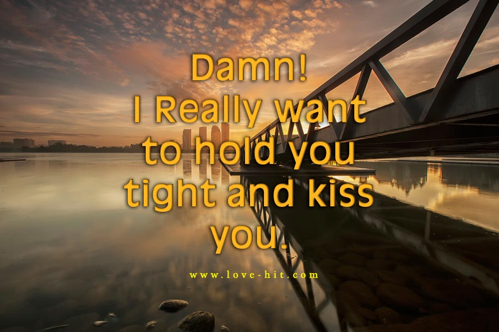Damn! I really want to hold you tight and kiss you love quote