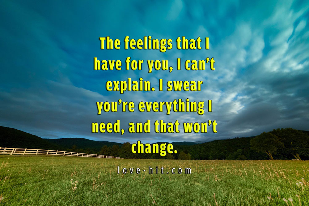 The feelings that I have for you, I can't explain. I swear you're everything I need, and that won't change cute love quote
