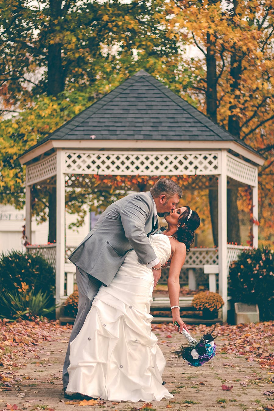 Cute Couple Kissing on a Wedding