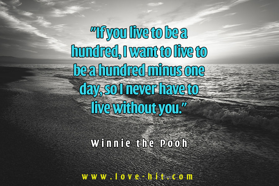 """If you live to be a hundred, I want to live to be a hundred minus one day, so I never have to live without you."" -  Winnie the Pooh"