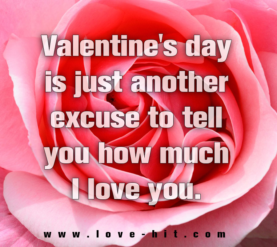 Valentine's day is just another excuse to tell you how much I love you.