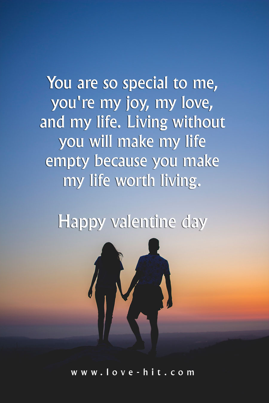 You are so special to me, you're my joy, my love, and my life. Living without you will make my life empty because you make my life worth living.